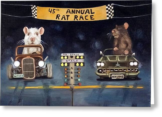 Rat Race Darker Tones Greeting Card by Leah Saulnier The Painting Maniac