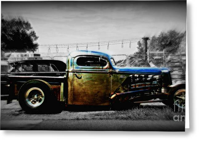 Recently Sold -  - Paint Photograph Greeting Cards - Rat Rod Profile Greeting Card by Perry Webster