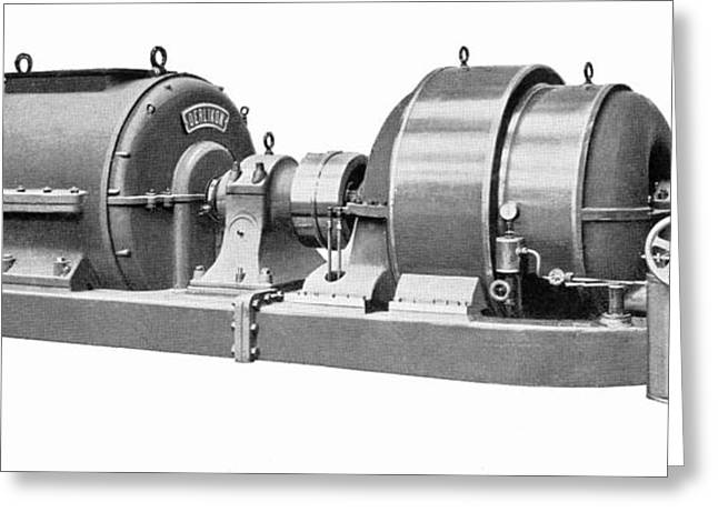 Generators Greeting Cards - Rateau Steam Turbine And Generator Greeting Card by Mark Sykes