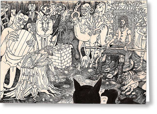 Take Over Drawings Greeting Cards - Rathbone Meets The Forest Lord Greeting Card by Al Goldfarb
