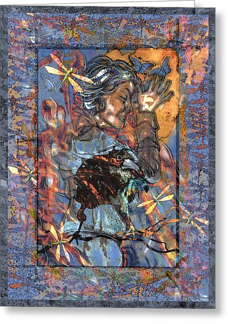 Ogling Greeting Cards - Raven Goddess Greeting Card by Mary Ogle