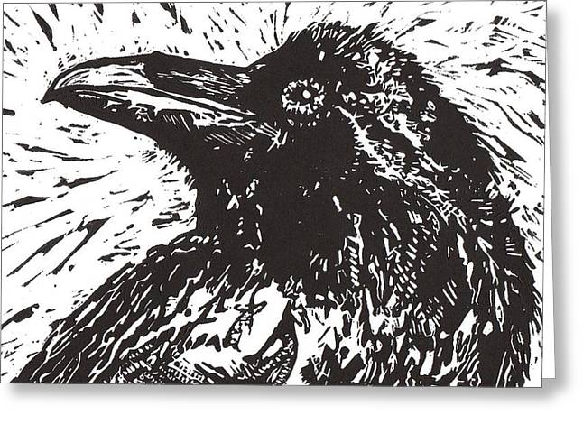 Linoleum Block Print Mixed Media Greeting Cards - Raven Greeting Card by Julia Forsyth