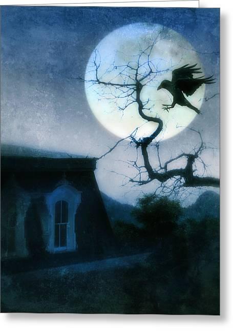 Night Terror Greeting Cards - Raven Landing on Branch in Moonlight Greeting Card by Jill Battaglia