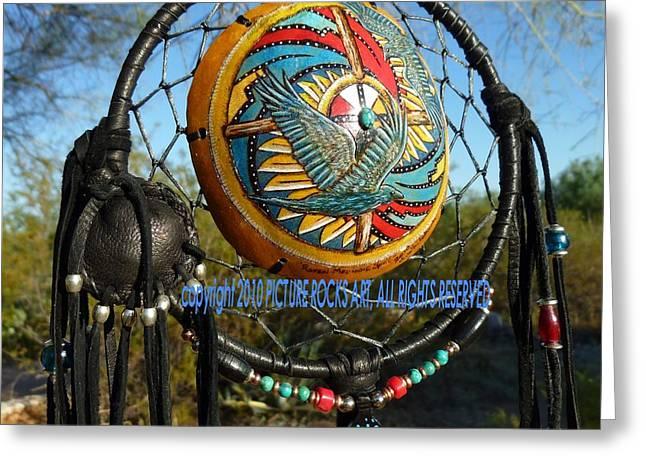 Wheel Pyrography Greeting Cards - Raven Medicine Spirit Shield Greeting Card by C Whitehawk