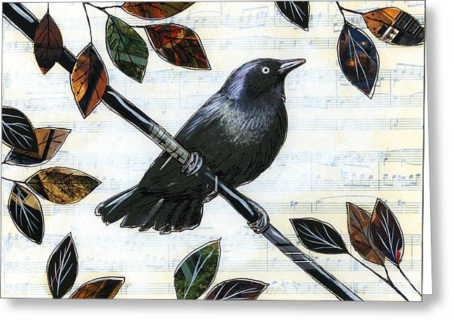 Crow. Bird Music Greeting Cards - Raven Melody Greeting Card by Amy Giacomelli
