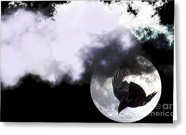 Bruster Greeting Cards - Raven Moon Greeting Card by Clayton Bruster