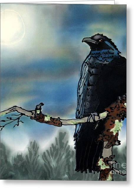 New Tapestries - Textiles Greeting Cards - Raven Moon Greeting Card by Linda Marcille