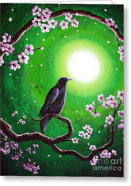 Wiccan Greeting Cards - Raven on a Spring Night Greeting Card by Laura Iverson
