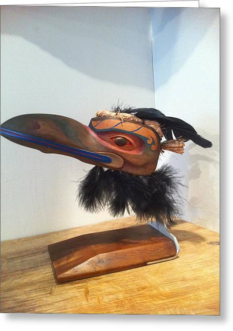 Wood Carving Sculptures Greeting Cards - Raven Greeting Card by Shane  Tweten