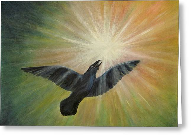 Wildlife Celebration Paintings Greeting Cards - Raven Steals the Light Greeting Card by Bernadette Wulf