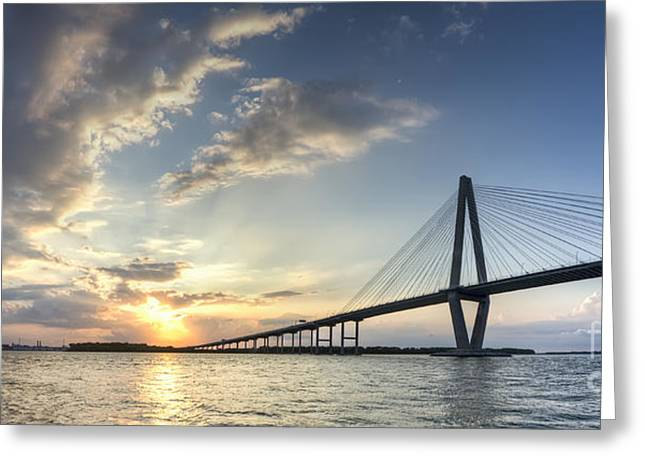 Ravenel Greeting Cards - Ravenel Bridge Cooper River Sunset Greeting Card by Dustin K Ryan