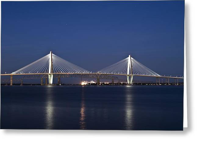 Ravenel Greeting Cards - Ravenel Bridge Greeting Card by Tom Rickborn
