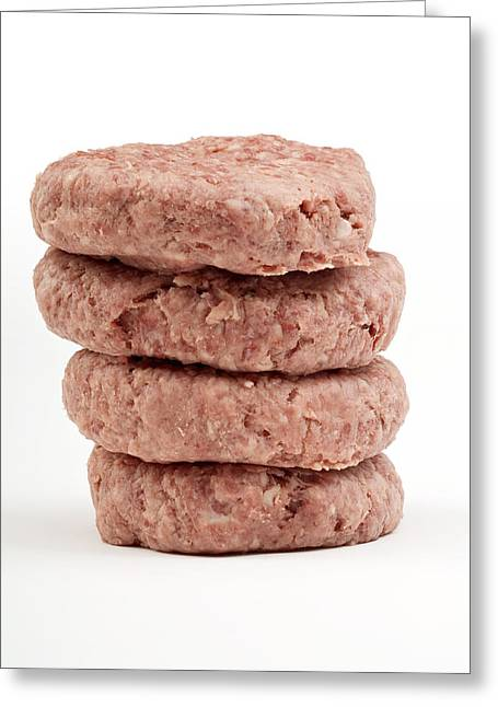 Raw Burgers Greeting Card by Courtesy Of Crown Copyright Fera