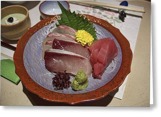 Kansai Photographs Greeting Cards - Raw Fish Sashimi Plate - Kyoto Japan Greeting Card by Daniel Hagerman