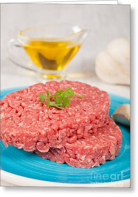 American Food Greeting Cards - Raw hamburger Greeting Card by Sabino Parente