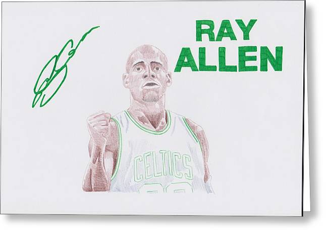 Boston Celtics Drawings Greeting Cards - Ray Allen Greeting Card by Toni Jaso