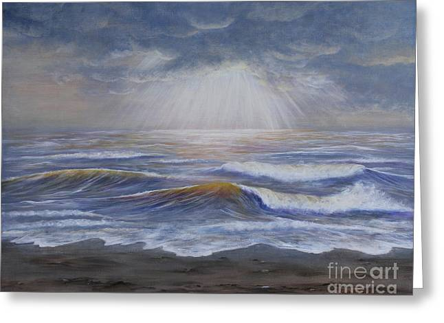 Sun Rays Paintings Greeting Cards - Ray of Hope Greeting Card by Kristi Roberts