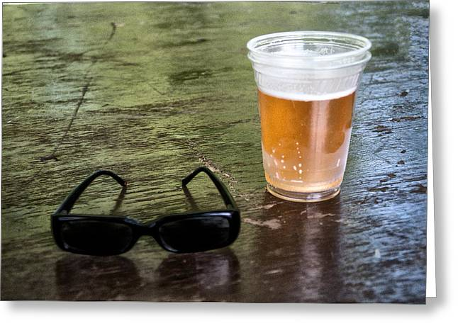 Bier Greeting Cards - Raybans and a Beer Greeting Card by Bill Cannon