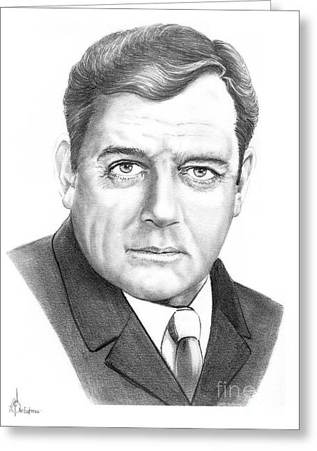 Pencil Drawing Greeting Cards - Raymond Burr Greeting Card by Murphy Elliott