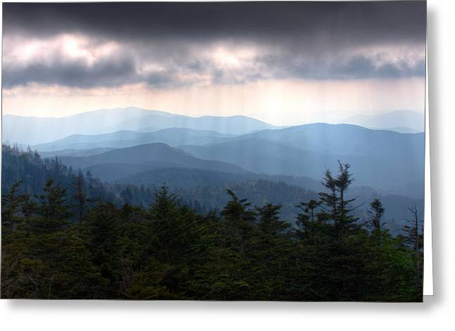 Great Smokey Mountains Greeting Cards - Rays of Light Over the Great Smoky Mountains Greeting Card by Pixel Perfect by Michael Moore