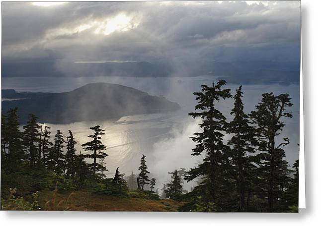 Tongass Greeting Cards - Rays Of Sunlight Pierce The Clouds Greeting Card by Melissa Farlow