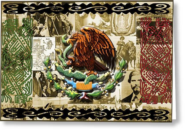 Snake Flag Greeting Cards - Raza Greeting Card by Roberto Valdes Sanchez