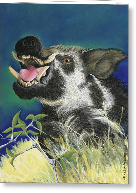 Pigs Pastels Greeting Cards - Razorback Greeting Card by Tracy L Teeter