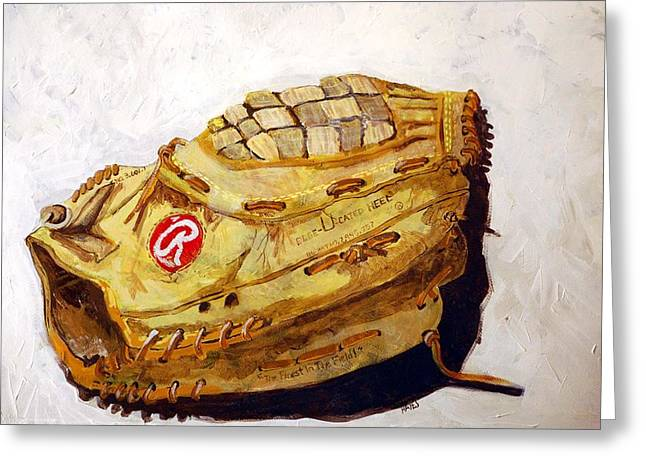 Baseball Glove Paintings Greeting Cards - RBG 36 Dale Murphy  Greeting Card by Jame Hayes