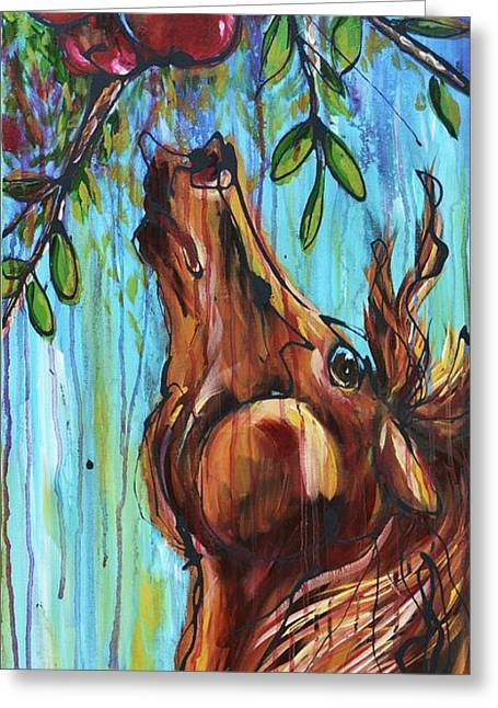 Apple Paintings Greeting Cards - Reach for it Greeting Card by Jonelle T McCoy