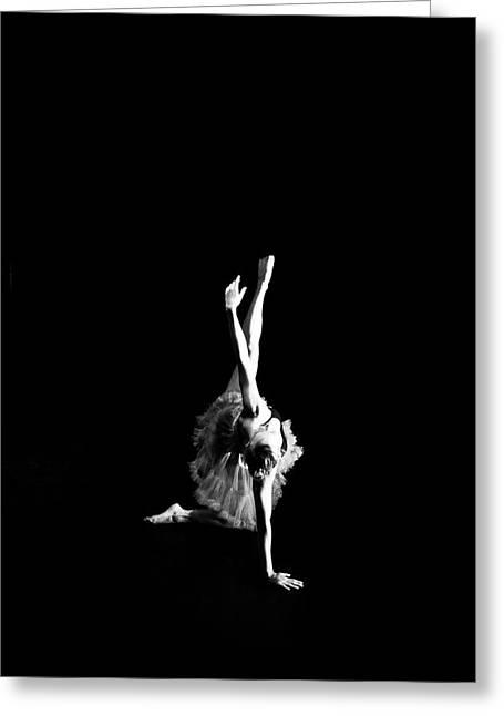 White Ballerina Greeting Cards - Reaching Ballerina Greeting Card by Scott Sawyer