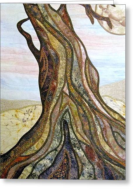 Roots Tapestries - Textiles Greeting Cards - Reaching Greeting Card by Doria Goocher