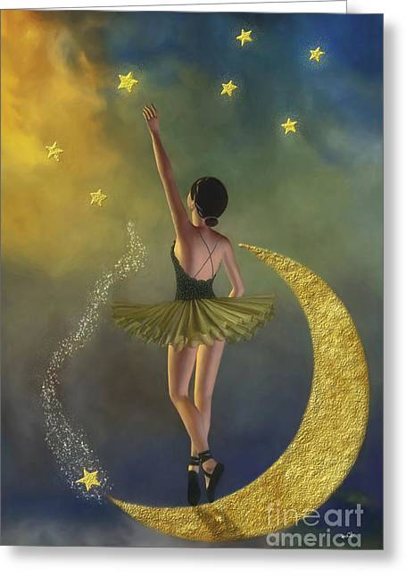 Ballerina Artwork Greeting Cards - Reaching For The Stars - Ballerina Greeting Card by AnaCB Studio