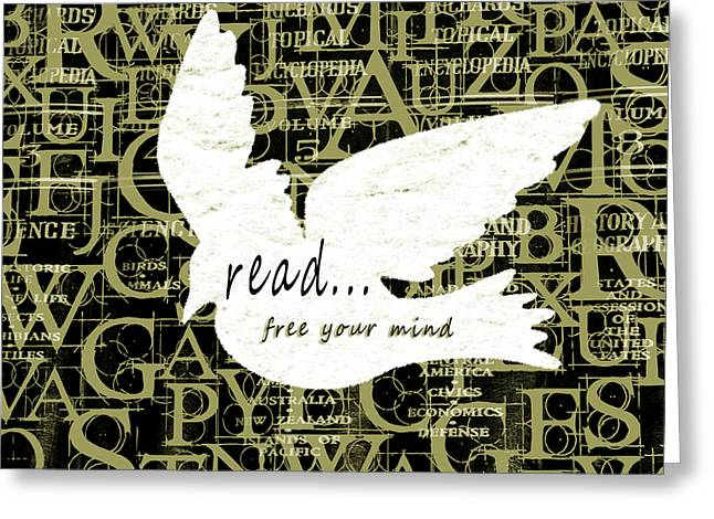 Black Greeting Cards - Read Free Your Mind Avacado Greeting Card by Angelina Vick