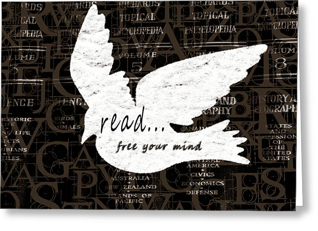 Read Free Your Mind Brown Greeting Card by Angelina Vick