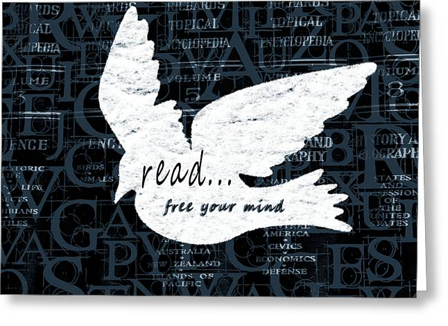 Ideologies Greeting Cards - Read Free Your Mind Teal Greeting Card by Angelina Vick