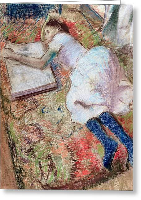 Edgar Pastels Greeting Cards - Reader Lying Down Greeting Card by Edgar Degas