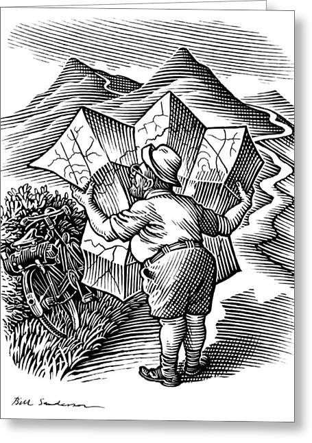 Linocut Greeting Cards - Reading A Map, Artwork Greeting Card by Bill Sanderson
