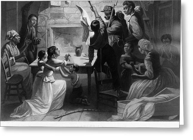 Abolitionism Greeting Cards - Reading Emancipation Proclamation Greeting Card by Photo Researchers