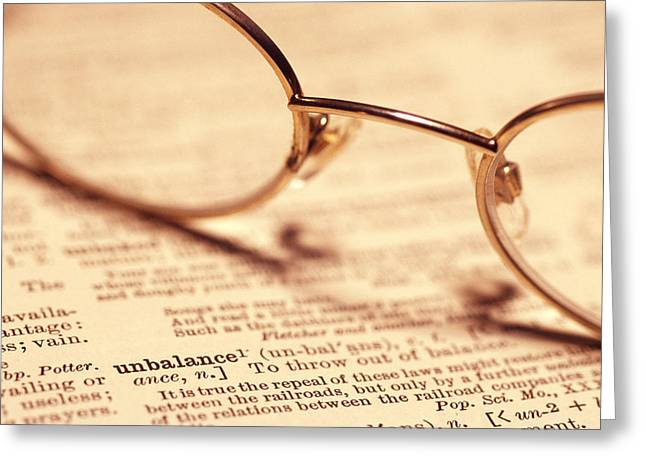 Dictionary Greeting Cards - Reading Glasses Greeting Card by Alan Sirulnikoff