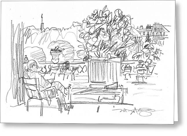 Garden Scene Drawings Greeting Cards - Reading in the Luxembourg Gardens Greeting Card by Marilyn MacGregor