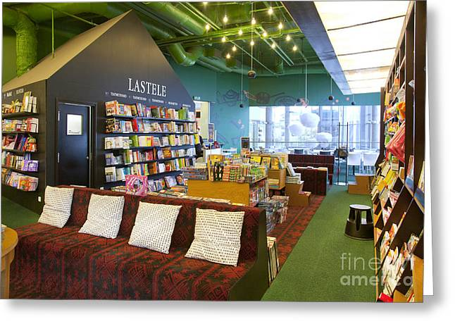 Bookcase Greeting Cards - Reading Room in a Bookstore Greeting Card by Jaak Nilson