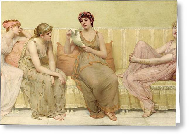 Reading Greeting Cards - Reading the Story of Oenone Greeting Card by Francis Davis Millet