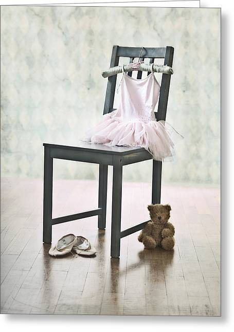 Satin Skirt Greeting Cards - Ready For Ballet Lessons Greeting Card by Joana Kruse