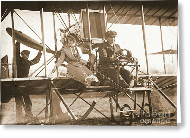 Ewing Greeting Cards - Ready for Takeoff 1912 Sepia Greeting Card by Padre Art
