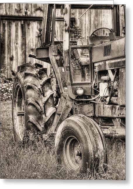 International Tractor Greeting Cards - Ready to GO BW V Greeting Card by JC Findley