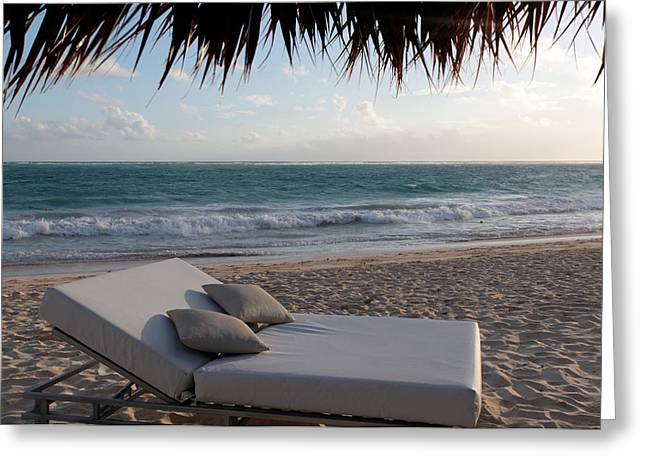 Chaise Greeting Cards - Ready to Relax on a Tropical Beach Greeting Card by Karen Lee Ensley