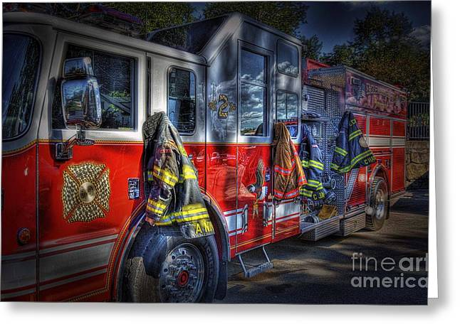 Fire Trucks Greeting Cards - Ready To Roll Greeting Card by Arnie Goldstein