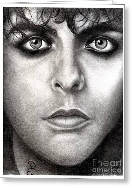 Green Day Greeting Cards - Realistic Pencil Drawing of  Billie Joe Armstrong Green Day Greeting Card by Debbie Engel