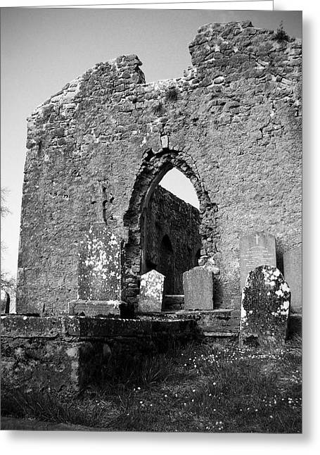 Headstones Greeting Cards - Rear Entrance Fuerty Church Roscommon Ireland Greeting Card by Teresa Mucha