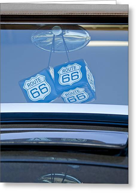 Rear View Mirror Greeting Cards - Rear View Mirror Dice Greeting Card by Jill Reger